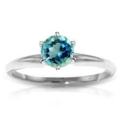 ALARRI 0.65 Carat 14K Solid White Gold Solitaire Ring Natural Blue Topaz