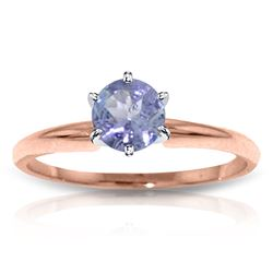 ALARRI 14K Solid Rose Gold Solitaire Ring w/ Natural Tanzanite