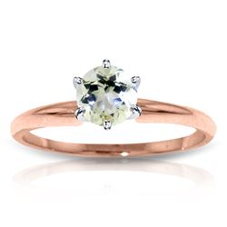 ALARRI 14K Solid Rose Gold Solitaire Ring w/ Natural Aquamarine