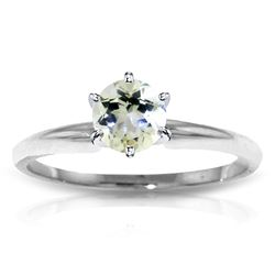 ALARRI 0.65 CTW 14K Solid White Gold Solitaire Ring Natural Aquamarine