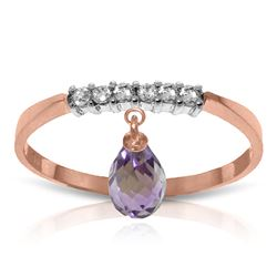 ALARRI 1.45 Carat 14K Solid Rose Gold Ring Natural Diamond Dangling Amethyst