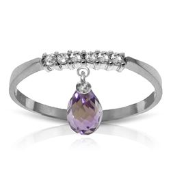 ALARRI 1.45 CTW 14K Solid White Gold Ring Natural Diamond Dangling Amethyst