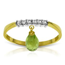 ALARRI 1.45 Carat 14K Solid Gold Ring Natural Diamond Dangling Peridot