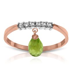 ALARRI 1.45 Carat 14K Solid Rose Gold Ring Natural Diamond Dangling Peridot