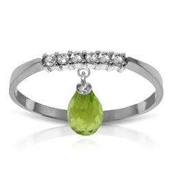 ALARRI 1.45 Carat 14K Solid White Gold Ring Natural Diamond Dangling Peridot