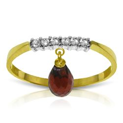 ALARRI 1.45 Carat 14K Solid Gold Ring Natural Diamond Dangling Garnet