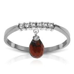 ALARRI 1.45 CTW 14K Solid White Gold Ring Natural Diamond Dangling Garnet