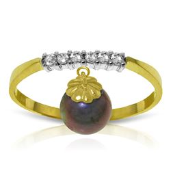 ALARRI 2.1 Carat 14K Solid Gold Ring Natural Diamond Dangling Black Pearl