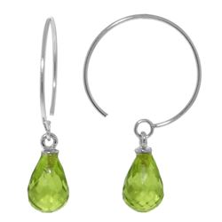 ALARRI 1.35 Carat 14K Solid White Gold Circle Wire Earrings Peridot