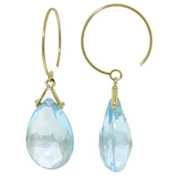 ALARRI 10.2 CTW 14K Solid Gold Circle Wire Earrings Blue Topaz