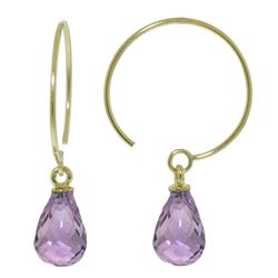 ALARRI 1.35 Carat 14K Solid Gold Circle Wire Earrings Amethyst