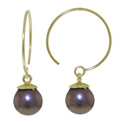 ALARRI 4 Carat 14K Solid Gold Circle Wire Earrings Black Pearl
