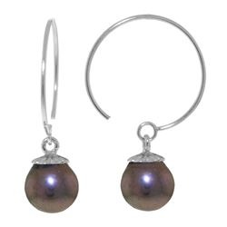 ALARRI 4 CTW 14K Solid White Gold Circle Wire Earrings Black Pearl