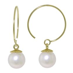 ALARRI 4 Carat 14K Solid Gold Circle Wire Earrings Natural Pearl