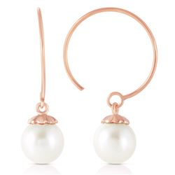 ALARRI 14K Solid Rose Gold Circle Wire Earrings w/ Natural Pearl