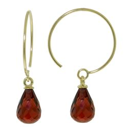 ALARRI 1.35 Carat 14K Solid Gold Circle Wire Earrings Garnet