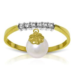 ALARRI 2.1 Carat 14K Solid Gold Ring Natural Diamond Dangling Pearl