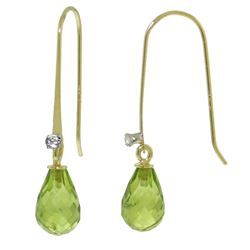 ALARRI 1.38 CTW 14K Solid Gold Fish Hook Earrings Diamond Peridot