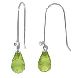 ALARRI 1.38 Carat 14K Solid White Gold Fish Hook Earrings Diamond Peridot
