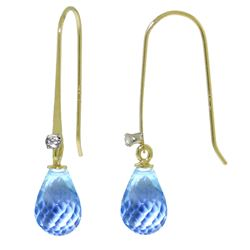 ALARRI 1.38 Carat 14K Solid Gold Fish Hook Earrings Diamond Blue Topaz