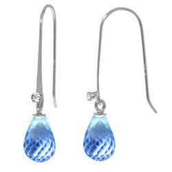ALARRI 1.38 Carat 14K Solid White Gold Fish Hook Earrings Diamond Blue Topaz