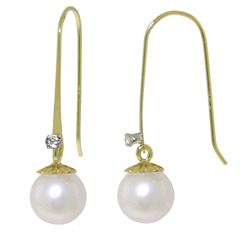 ALARRI 4.03 Carat 14K Solid Gold Fish Hook Earrings Diamond Pearl