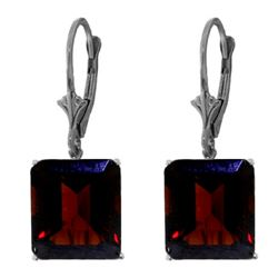ALARRI 13 Carat 14K Solid White Gold Leverback Earrings Garnet