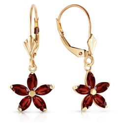 ALARRI 2.8 Carat 14K Solid Gold Starglow Garnet Earrings