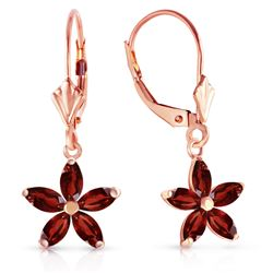 ALARRI 14K Solid Rose Gold Leverback Earrings w/ Natural Garnet