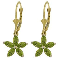 ALARRI 2.8 Carat 14K Solid Gold Leverback Earrings Natural Peridot