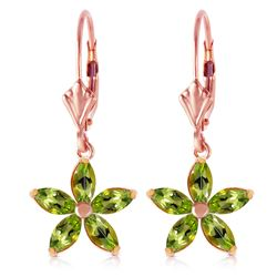 ALARRI 14K Solid Rose Gold Leverback Earrings w/ Natural Peridot