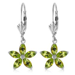 ALARRI 2.8 Carat 14K Solid White Gold Leverback Earrings Natural Peridot