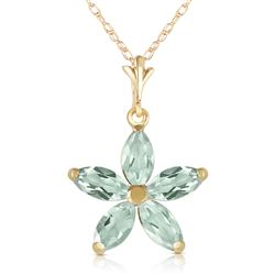 ALARRI 1.4 Carat 14K Solid Gold One Rainy Day Green Amethyst Necklace