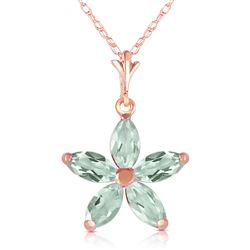ALARRI 14K Solid Rose Gold Necklace w/ Natural Green Amethysts