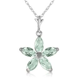 ALARRI 1.4 Carat 14K Solid White Gold Shall Be Again Green Amethyst Necklace