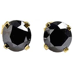 ALARRI 2 CTW 14K Solid Gold Stud Earrings 2.0 Carat Natural Black Diamond