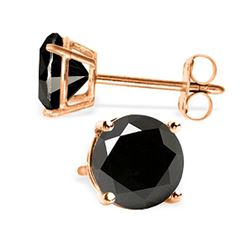 ALARRI 14K Solid Rose Gold Stud Earrings w/ 2.0 Carat Natural Black Diamonds