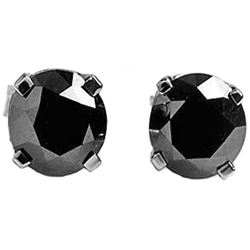 ALARRI 2 Carat 14K Solid White Gold Stud Earrings 2.0 Carat Natural Black Diamond