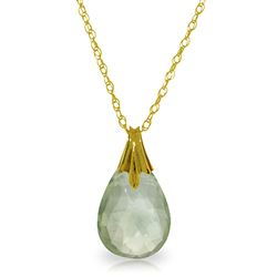 ALARRI 3 CTW 14K Solid Gold Disguise Green Amethyst Necklace