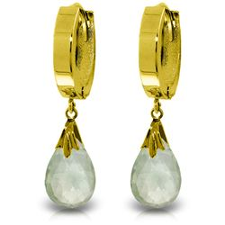 ALARRI 6 Carat 14K Solid Gold Hoop Earrings Natural Green Amethyst