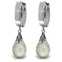 ALARRI 6 Carat 14K Solid White Gold Hoop Earrings Natural Green Amethyst