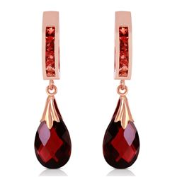 ALARRI 14K Solid Rose Gold Hoop Earrings w/ Natural Garnets