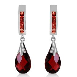 ALARRI 6.85 Carat 14K Solid White Gold Improvised Words Garnet Earrings