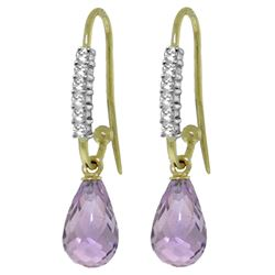 ALARRI 4.68 CTW 14K Solid Gold Impressions Amethyst Diamond Earrings