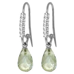 ALARRI 4.68 Carat 14K Solid White Gold Fish Hook Earrings Diamond Green Amethyst
