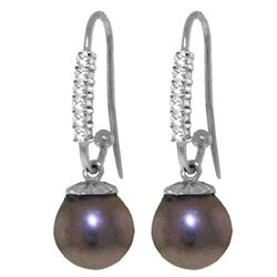ALARRI 8.18 Carat 14K Solid White Gold Glimpses Black Pearl Diamond Earrings