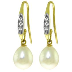 ALARRI 8.05 Carat 14K Solid Gold Emphasis Pearl Diamond Earrings