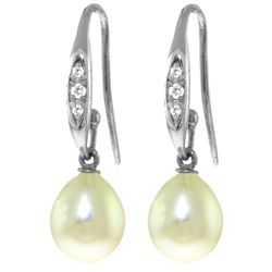 ALARRI 8.05 CTW 14K Solid White Gold You Are Breathtaking Pearl Diamond Earrings