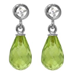 ALARRI 2.73 Carat 14K Solid White Gold Earrings Diamond Peridot