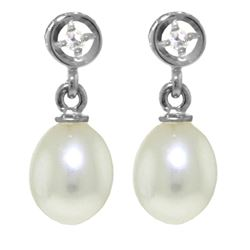 ALARRI 8.03 Carat 14K Solid White Gold Earrings Diamond Pearl
